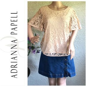 """NWT Adrianna Papell """"Flutter Sleeve Lace Top"""""""